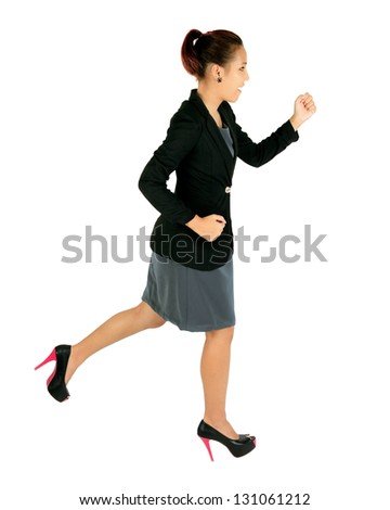 Isolated running young business woman on white. - stock photo