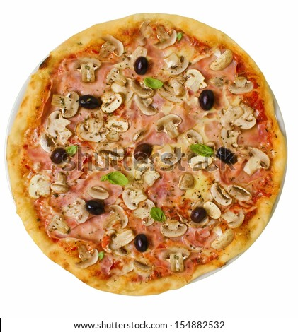 Isolated rustic thin crust pizza with pelato sauce, mozzarella, ham, mushrooms, olives and fresh basil - stock photo