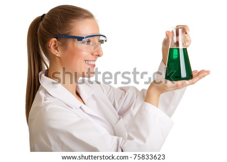 Isolated scientist woman in lab coat with chemical glassware
