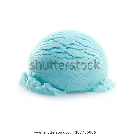 Isolated scoop of turquoise ice cream isolated on white background - stock photo