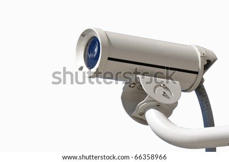 Isolated Security Video Camera on White