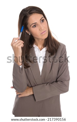 Isolated serious and sad business woman has problems at work. - stock photo