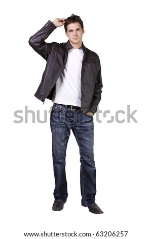 Isolated Sexy Male model with jacket and sunglasses - stock photo