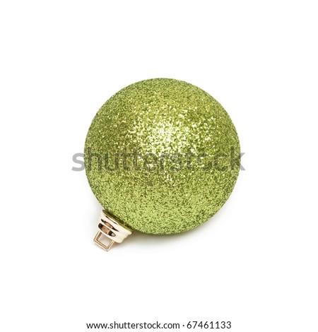 Isolated shiny green Christmas ball - stock photo