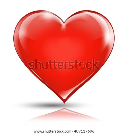 Isolated shiny heart shape red valentine love Illustration with clipping path. - stock photo