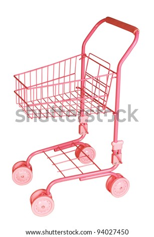 isolated shopping cart on the white - stock photo