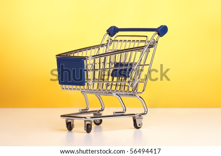 Isolated shopping trolley - stock photo