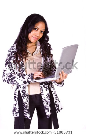 Isolated Shot - Beautiful Woman Holding a Laptop - stock photo