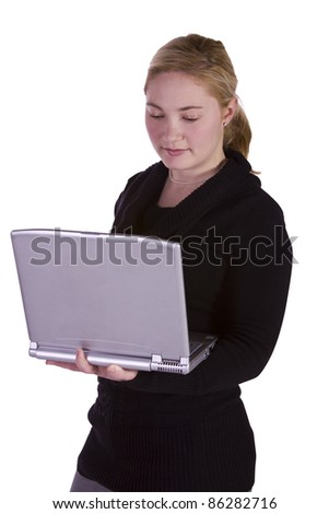 Isolated Shot - Beautiful Woman Holding a Laptop - stock photo