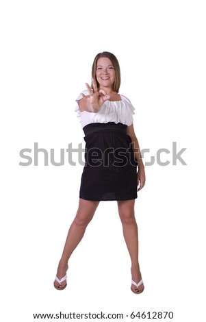 Isolated Shot of a Beautiful Girl Giving the OK Sign