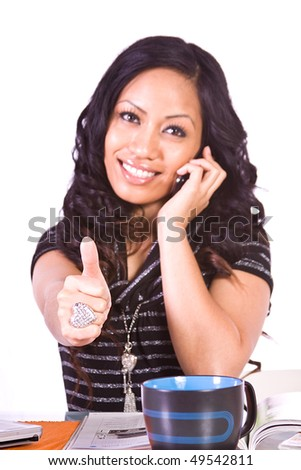 Isolated Shot of a Beautiful Girl Giving the Thumbs Up - Focused on the Hand - stock photo