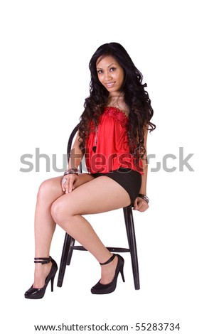 Isolated Shot of a Beautiful Polyneasian Girl - White Background - stock photo
