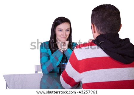Isolated shot of a Couple on a Date - Girl Smiling - stock photo