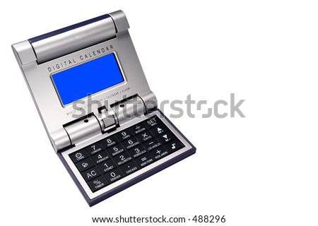 Isolated shot of a desktop digital calendar on white background. Blue screen lets you add your own content easily in photoshop. - stock photo