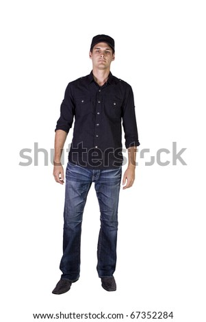Isolated Shot of a Good Looking young man standing up