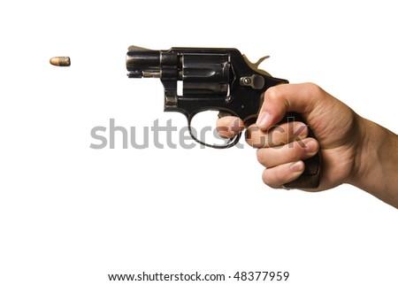 isolated shot of a man firing a gun - stock photo