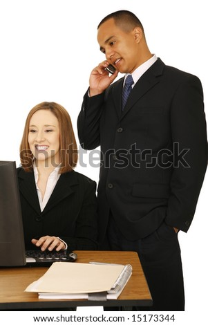 isolated shot of a man on the phone while the other business woman looking at the screen and smiling. concept for business communication, or team work - stock photo