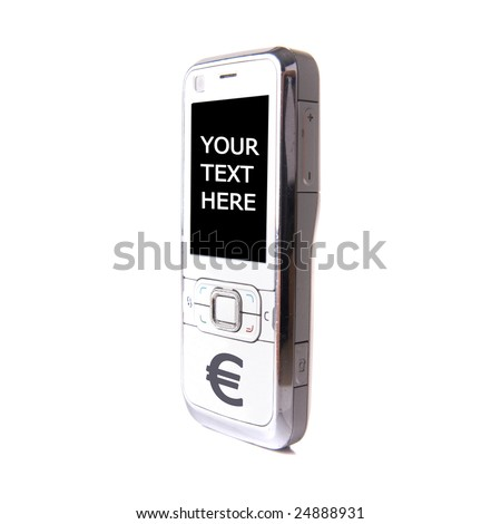 Isolated shot of a white cell phone. The phone's keys have been replaced by one ? button. Lot of copyspace. - stock photo