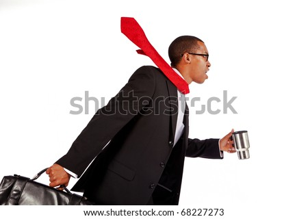 Isolated shot of a young businessman running. - stock photo