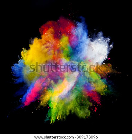 Isolated shot of abstract colored powder shape on black background - stock photo