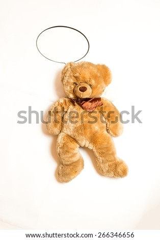 Isolated shot of cute teddy bear with copyspace speech bubble lying on floor - stock photo
