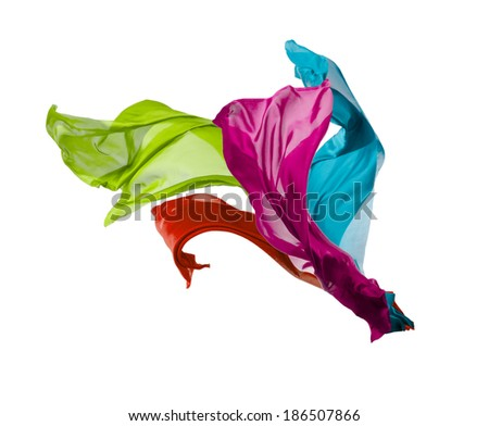 Isolated shot of freeze motion of colored silk, isolated on white background - stock photo