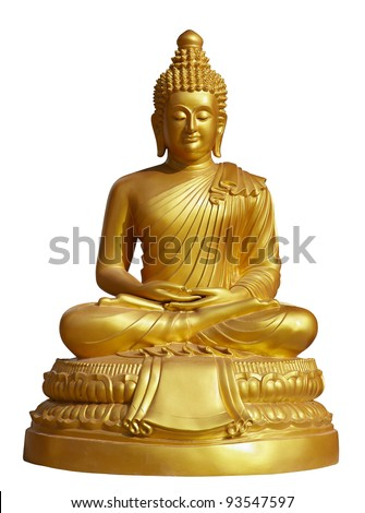 isolated shot of golden statue of Buddha sitting in lotus pose with eyes shut - stock photo
