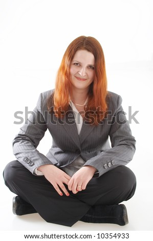 Isolated shot of young woman with red hair
