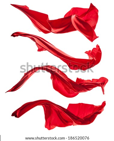 Isolated shots of freeze motion of red satins, isolated on white background - stock photo