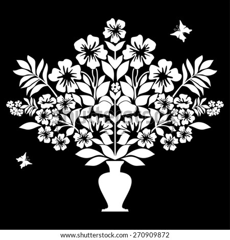 Isolated silhouettes of flowers in vase. Black and White color. Raster illustration - stock photo