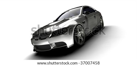 isolated silver business car back - stock photo