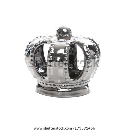 Isolated silver crown on white background - stock photo