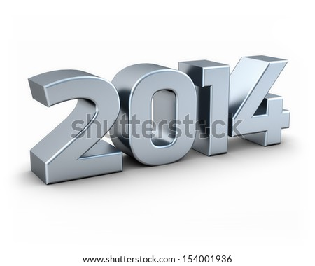 Isolated silver 2014 on white background - stock photo