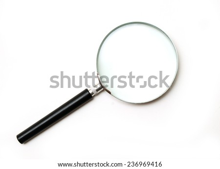 isolated simple magnifying glass on white background