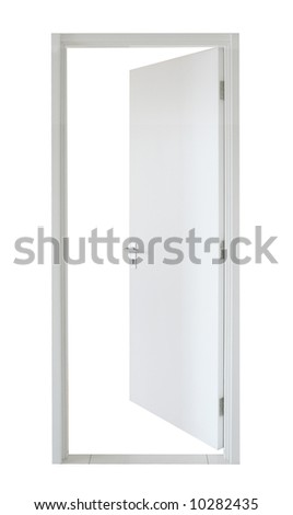 Isolated simple white wooden door