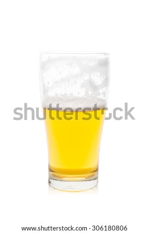 Isolated single glass of beer with bubbles, half glass of beer