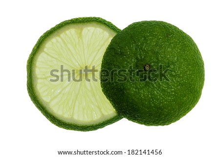 isolated slice and end of lemon, backlit - stock photo
