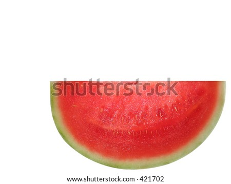 Isolated slice of a juicy, Sugarbaby Seedless, watermelon grown in Hawaii.