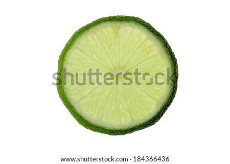 isolated slice of lemon - stock photo