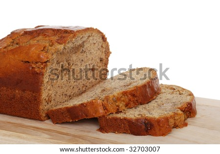 Isolated sliced banana bread - stock photo