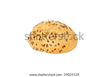 isolated small fresh tasty bun with sesame