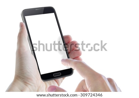 isolated smart phone in hand with hand showing - stock photo