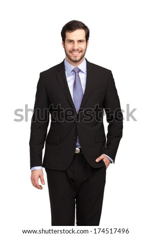 isolated smiling businessman in black suit - stock photo