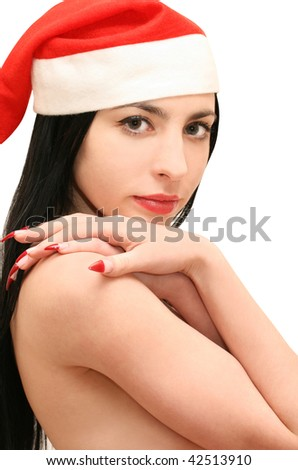 Isolated smiling young christmas woman - stock photo