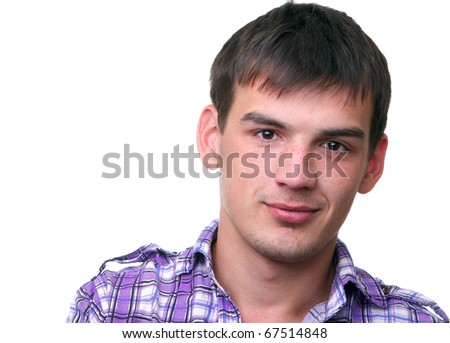 isolated smiling young man in shirt on white