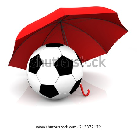 Isolated Soccer Ball and Umbrella. 3D Rendering - stock photo