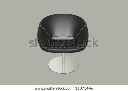 Isolated soft black stylish leather chair - stock photo