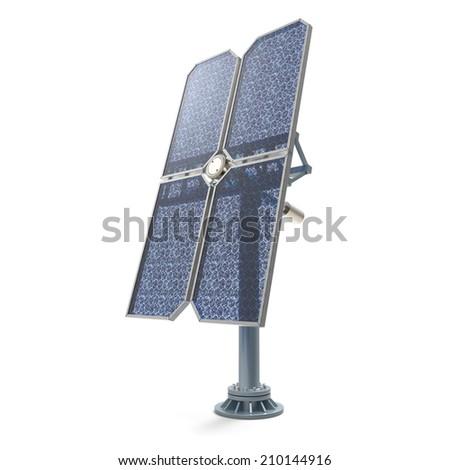 Isolated solar panel on white background - stock photo