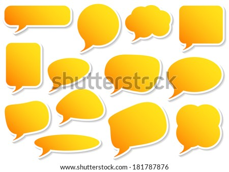 Isolated speech bubbles in sticker style with shadow (vector also available in portfolio) - stock photo