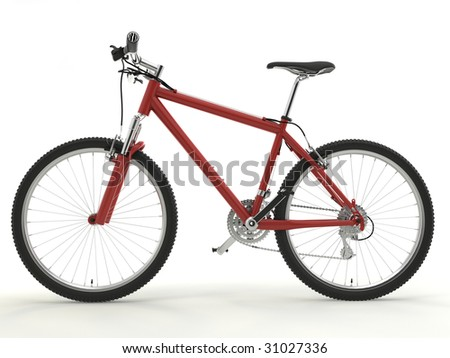 isolated sport red bike on the white background